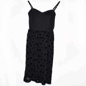 Frenchi Flocked Polka Dot Party Dress